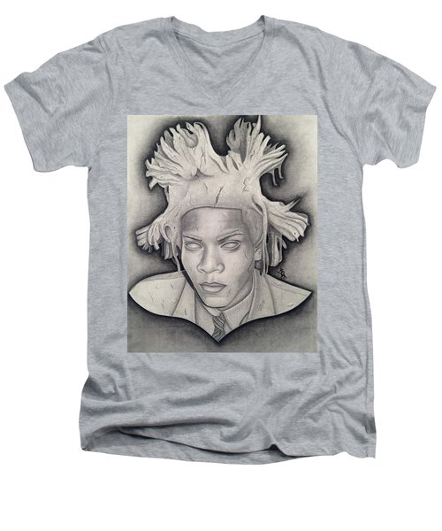 Immortalizing In Stone Jean Michel Basquiat Drawing Men's V-Neck T-Shirt