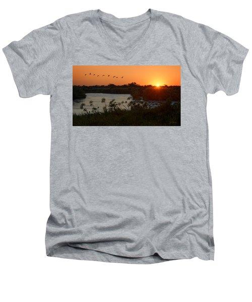 Impalila Island Sunrise Men's V-Neck T-Shirt by Joe Bonita