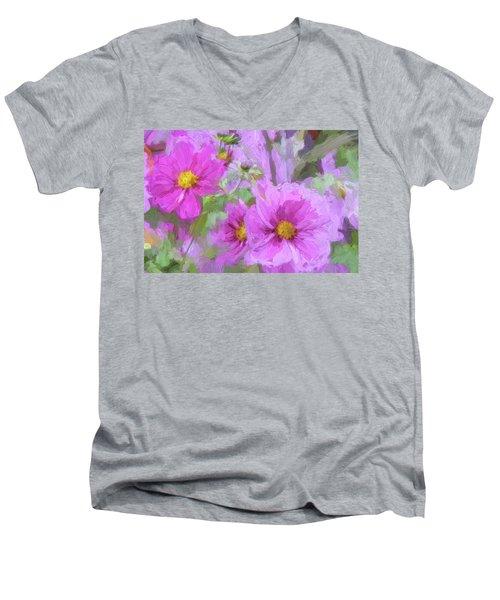 Impasto Cosmos Men's V-Neck T-Shirt by Bonnie Bruno