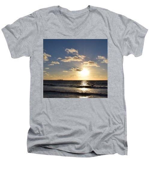 Imperial Beach Sunset Reflection Men's V-Neck T-Shirt by Karen J Shine