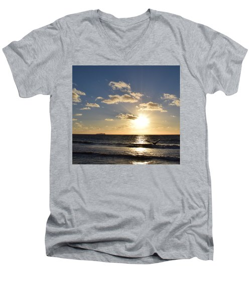 Sunset Reflection At Imperrial Beach Men's V-Neck T-Shirt