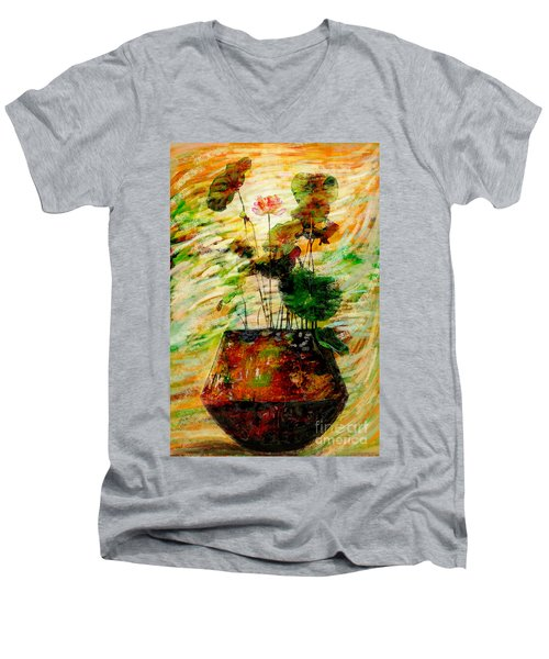 Impression In Lotus Tree Men's V-Neck T-Shirt