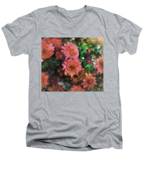 Bronze And Pink Mums Men's V-Neck T-Shirt