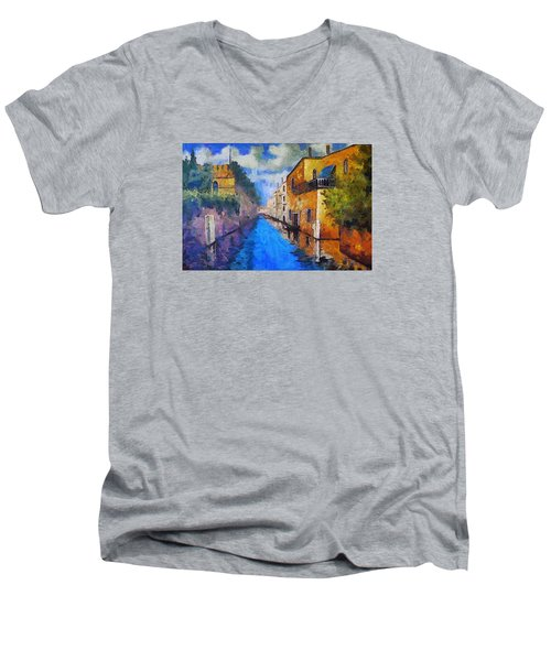 Impressionist D'art At The Canal Men's V-Neck T-Shirt by Mario Carini