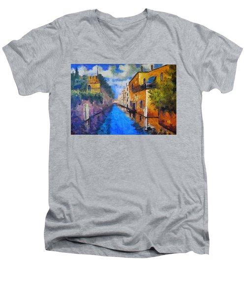 Impressionist D'art At The Canal Men's V-Neck T-Shirt
