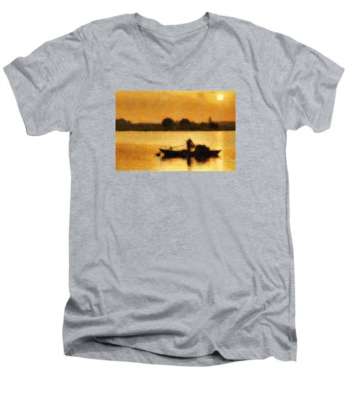 Men's V-Neck T-Shirt featuring the digital art Impressionist Dawn by Cameron Wood