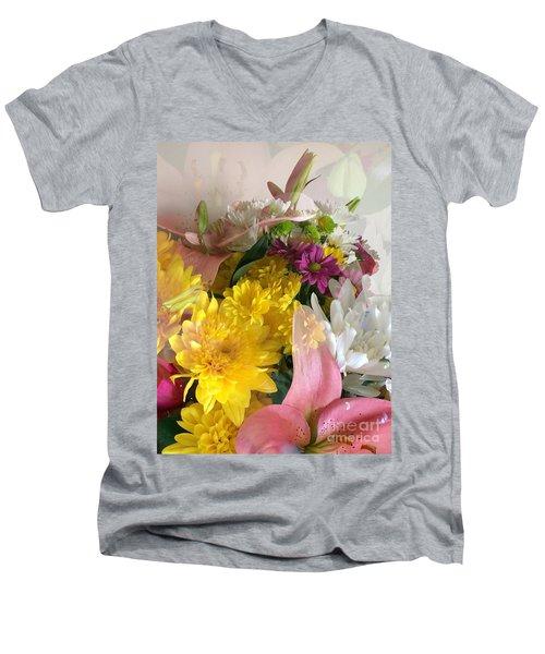 Impressionist Spring Bouquet Men's V-Neck T-Shirt