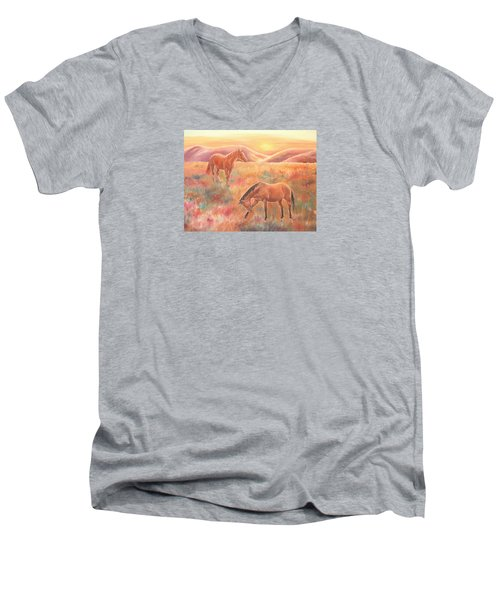 Men's V-Neck T-Shirt featuring the painting Impressions At Sunset by Elizabeth Lock