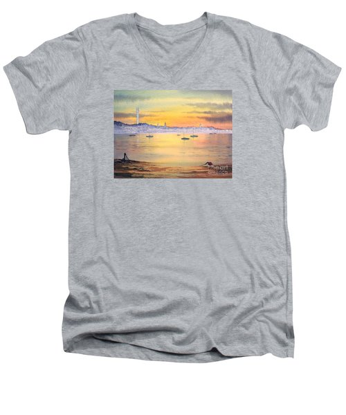 Men's V-Neck T-Shirt featuring the painting Impressions Of Provincetown by Bill Holkham