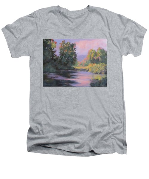 Men's V-Neck T-Shirt featuring the painting In Another Light by Karen Ilari