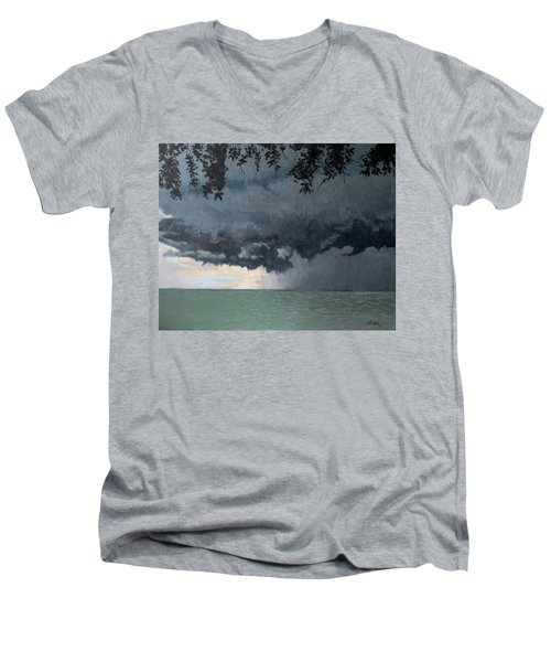 In Coming Storm-epping Forest On The Lake Men's V-Neck T-Shirt