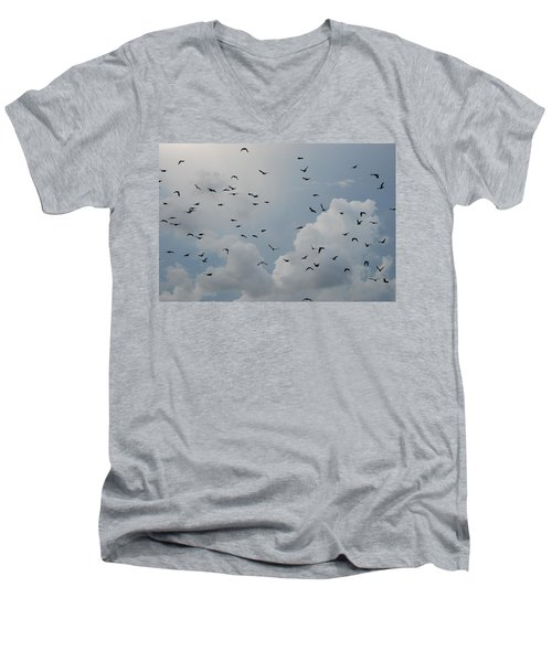Men's V-Neck T-Shirt featuring the photograph In Flight by Rob Hans