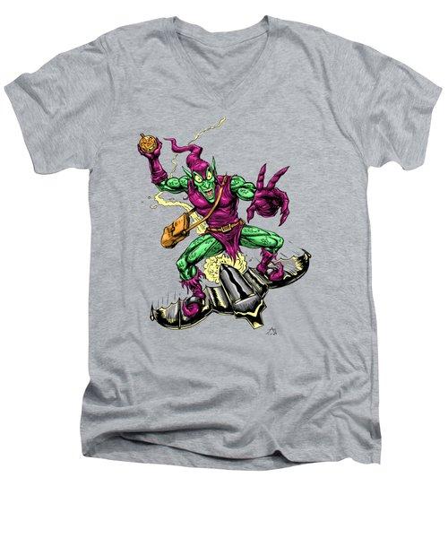 In Green Pursuit Men's V-Neck T-Shirt by John Ashton Golden