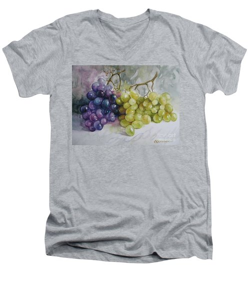 Men's V-Neck T-Shirt featuring the painting In Harmony by Elena Oleniuc