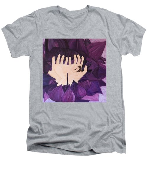 Men's V-Neck T-Shirt featuring the painting In Loving Hands by Cheryl Bailey