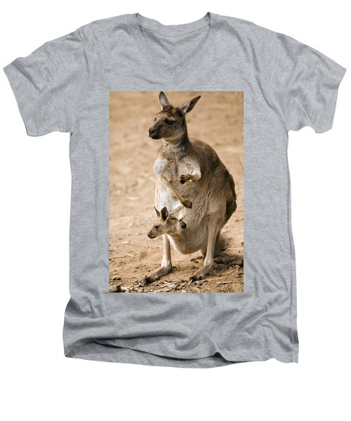 In  Mother's Care Men's V-Neck T-Shirt by Mike  Dawson