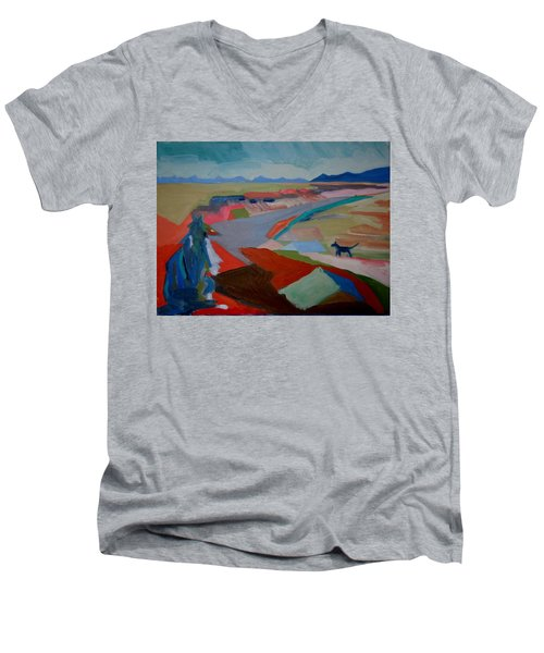 Men's V-Neck T-Shirt featuring the painting In My Land by Francine Frank
