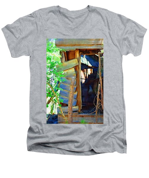 Men's V-Neck T-Shirt featuring the photograph In Shambles by Donna Bentley