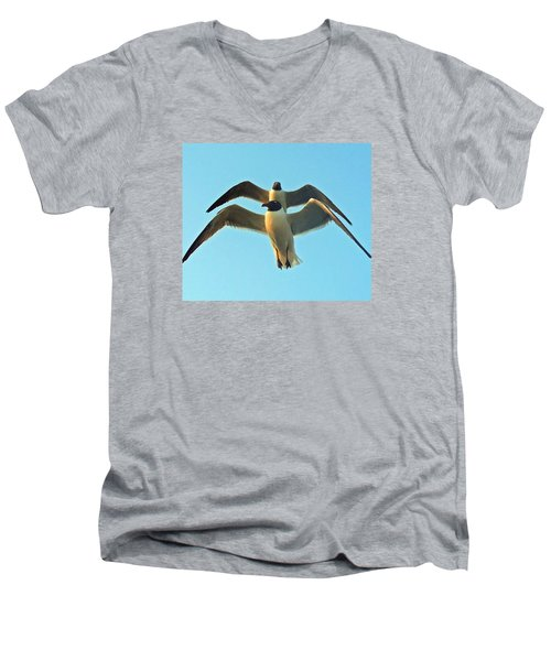 Men's V-Neck T-Shirt featuring the photograph In Tandem At Sunset by Sandi OReilly