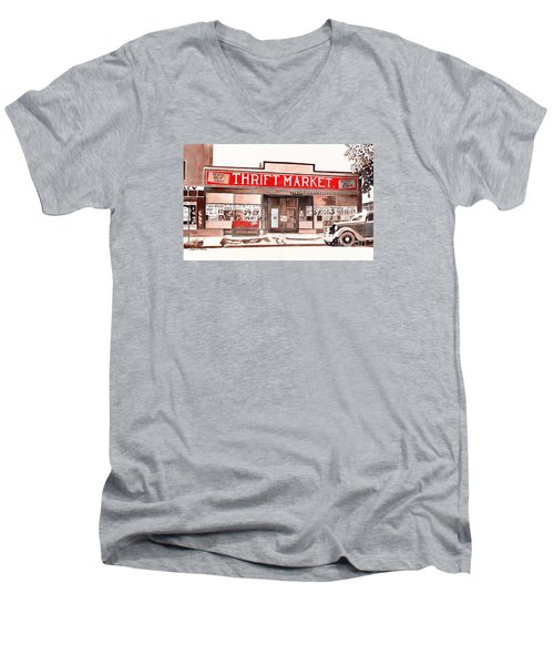 Men's V-Neck T-Shirt featuring the painting In The Beginning by LeAnne Sowa