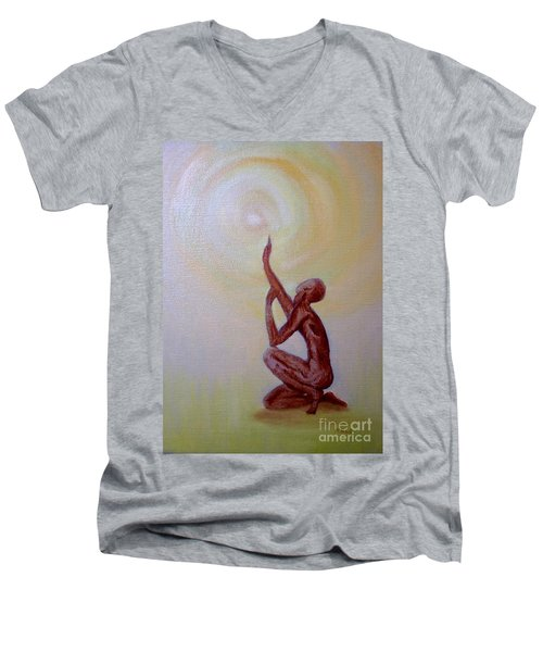Men's V-Neck T-Shirt featuring the painting In The Beginning by Marlene Book