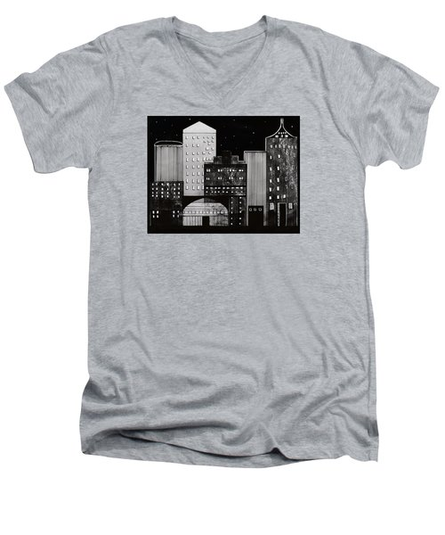 Men's V-Neck T-Shirt featuring the drawing In The City by Kathy Sheeran