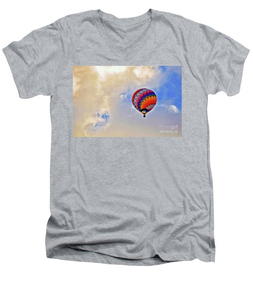 Men's V-Neck T-Shirt featuring the photograph In The Clouds by Gina Savage