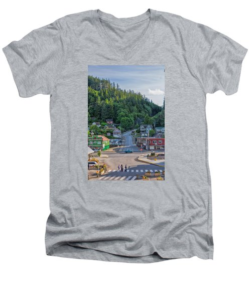 Men's V-Neck T-Shirt featuring the photograph In The Crosswalk by Lewis Mann