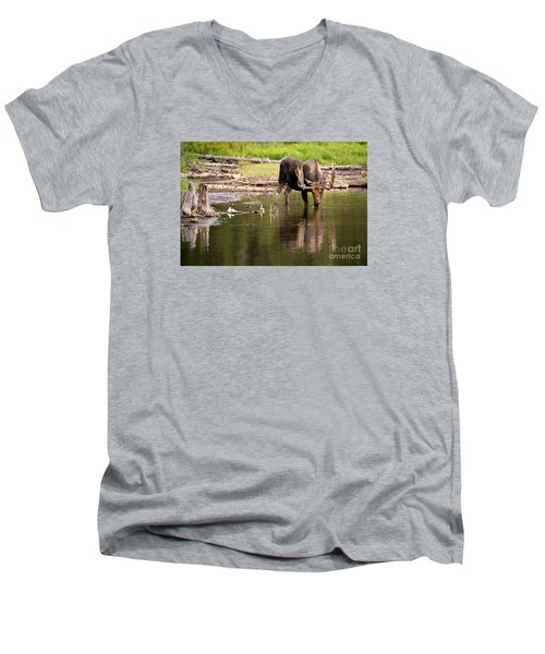 Men's V-Neck T-Shirt featuring the photograph In The Drink by Aaron Whittemore