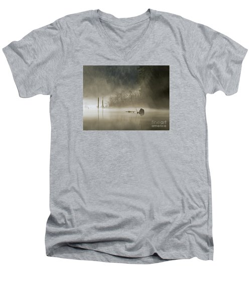 Men's V-Neck T-Shirt featuring the photograph In The Fog by Inge Riis McDonald
