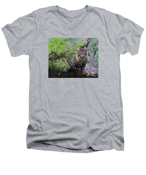 Men's V-Neck T-Shirt featuring the painting In The Forest by Karen Ilari