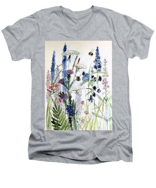 Men's V-Neck T-Shirt featuring the painting In The Garden by Laurie Rohner