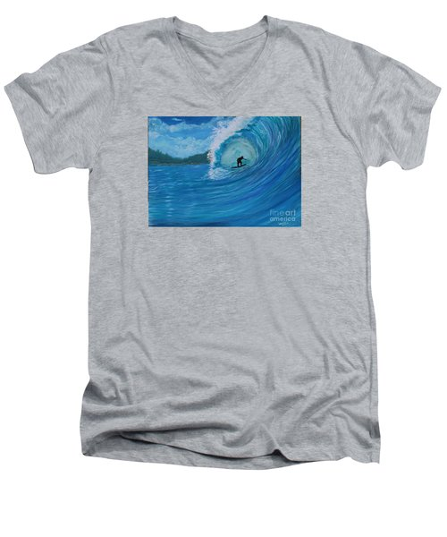 Men's V-Neck T-Shirt featuring the painting In The Green Room by Myrna Walsh