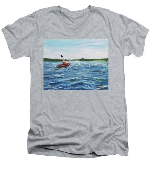 In The Kayak Men's V-Neck T-Shirt by Jack Skinner