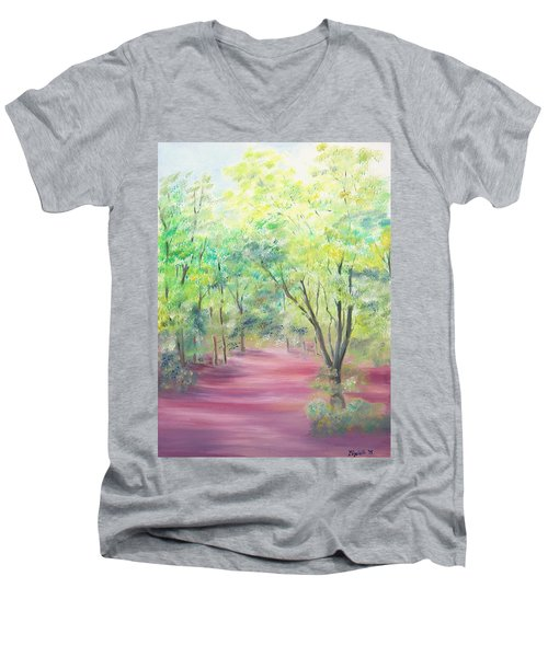 Men's V-Neck T-Shirt featuring the painting In The Park by Elizabeth Lock