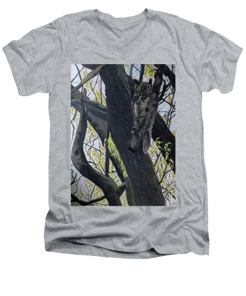 In The Shadow-ojibway Great Horn Owl Men's V-Neck T-Shirt