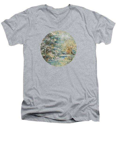 In The Snowy Silence Men's V-Neck T-Shirt by Mary Wolf