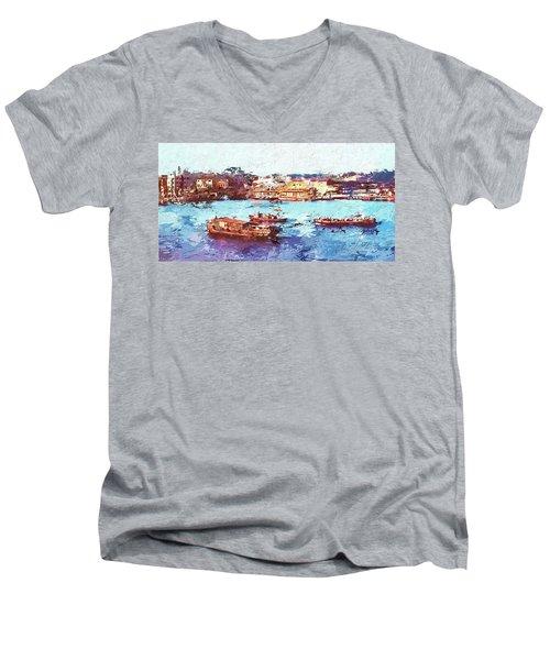 Men's V-Neck T-Shirt featuring the digital art Inchon Harbor by Dale Stillman