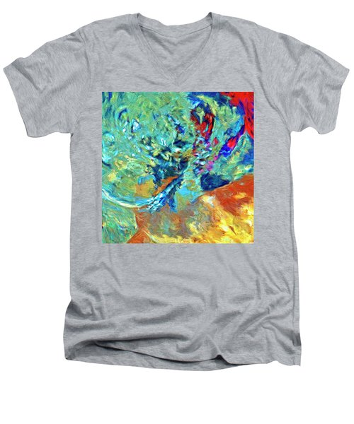 Men's V-Neck T-Shirt featuring the painting Incursion by Dominic Piperata