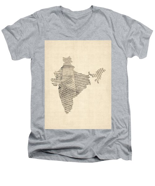 India Map, Old Sheet Music Map Of India Men's V-Neck T-Shirt by Michael Tompsett