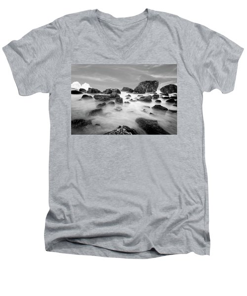 Indian Beach, Ecola State Park, Oregon, In Black And White Men's V-Neck T-Shirt