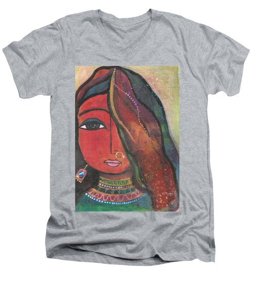 Men's V-Neck T-Shirt featuring the mixed media Indian Girl With Nose Ring by Prerna Poojara