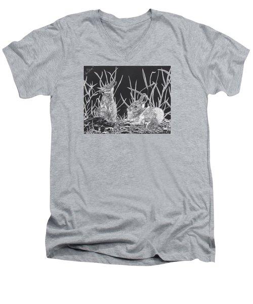 Indian Ink Rabbits Men's V-Neck T-Shirt
