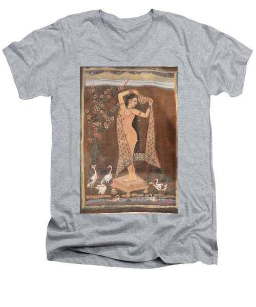 Men's V-Neck T-Shirt featuring the painting Indian Lady After Swim by Vikram Singh