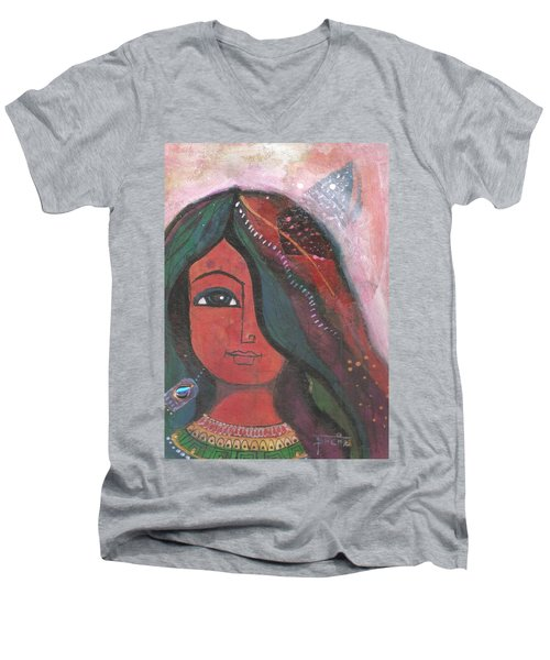 Men's V-Neck T-Shirt featuring the mixed media Indian Rajasthani Woman by Prerna Poojara