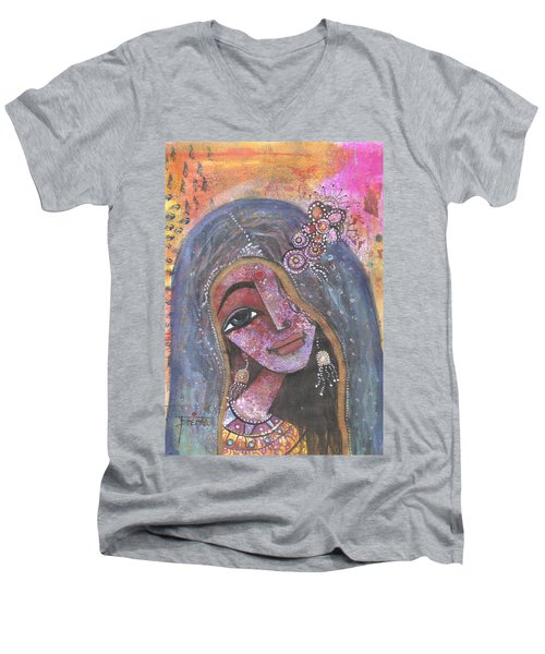 Indian Rajasthani Woman With Colorful Background  Men's V-Neck T-Shirt