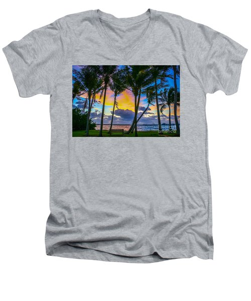 Indian River Sunrise Men's V-Neck T-Shirt by Tom Claud