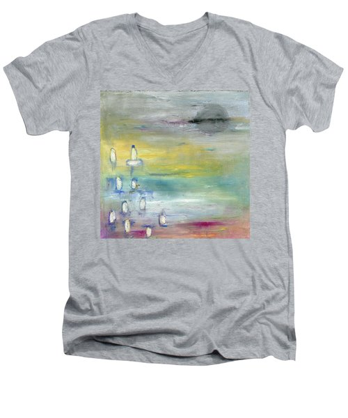 Men's V-Neck T-Shirt featuring the painting Indian Summer Over The Pond by Michal Mitak Mahgerefteh