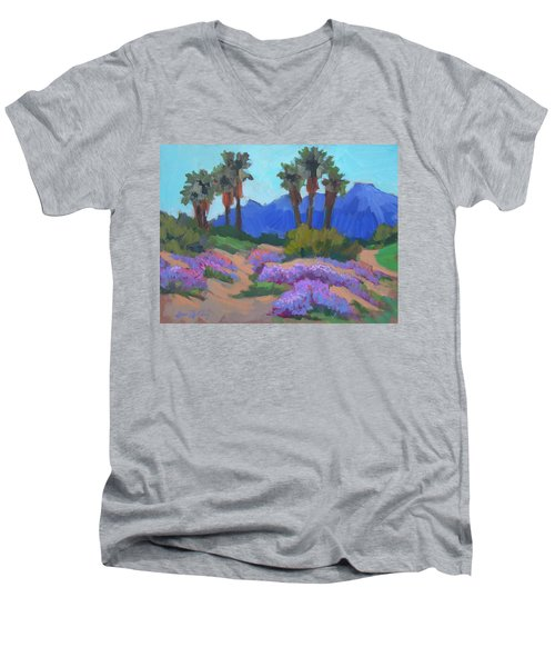 Men's V-Neck T-Shirt featuring the painting Indian Wells Verbena by Diane McClary