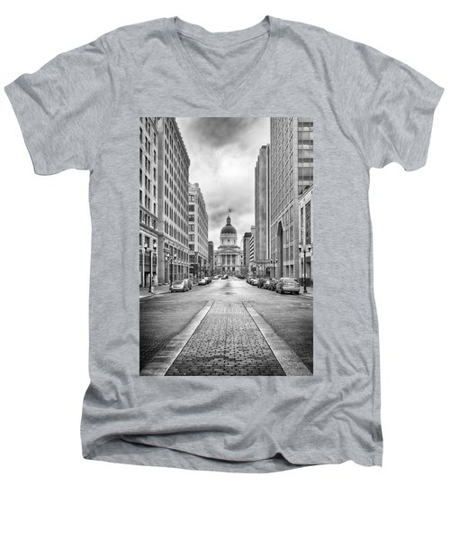 Indiana State Capitol Building Men's V-Neck T-Shirt by Howard Salmon